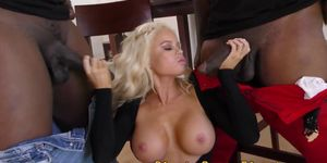 Busty blonde takes spitroasting from bbcs