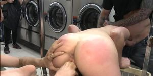 Brunette fisted and fucked in public